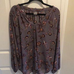 New York & Company Lavender hummingbird  shirt